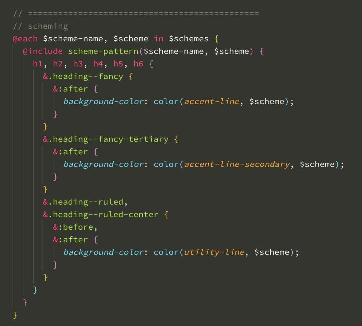 Example of scheme looping in scss
